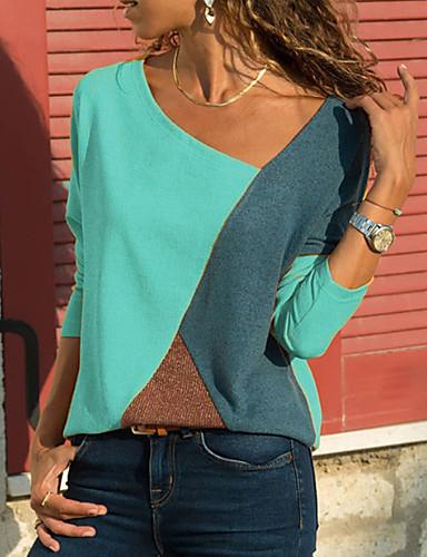billige Dametopper-V-hals Store størrelser T-skjorte Dame - Fargeblokk Grunnleggende Hvit