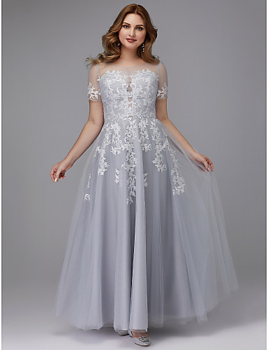 5499d6a9f Plus Size A-Line Jewel Neck Floor Length Tulle Prom   Formal Evening Dress  with Appliques by TS Couture®