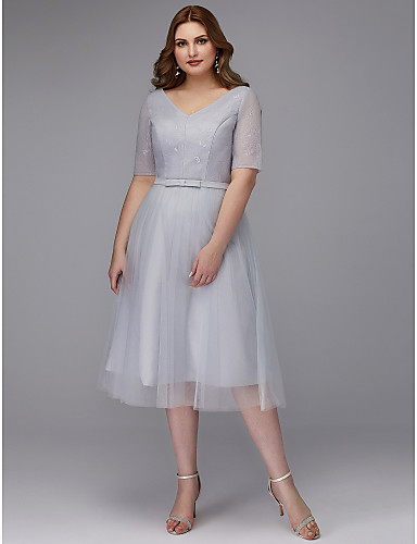 d278f599dc Plus Size A-Line V Neck Tea Length Lace   Tulle Cocktail Party Dress with  Sash   Ribbon by TS Couture®