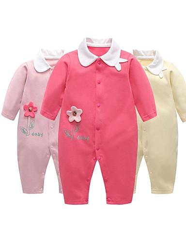 Dijete Djevojčice Aktivan / Osnovni Dnevno Suncem Cvjetni print Pletenje / Kolaž Dugih rukava Pamuk Jednodijelno Blushing Pink / Dijete koje je tek prohodalo