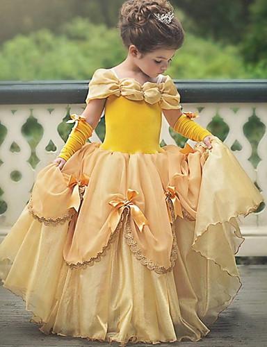 billige Film & TV-kostymer-Prinsesse Belle Vintage Kjoler Party-kostyme Jente Kostume Himmelblå / Gul / Rosa Vintage Cosplay Ermeløs