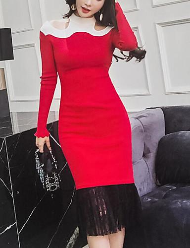 c554dc681d Women s Going out Skinny Sheath   Sweater Dress Crew Neck Black Red Light  Green M L XL