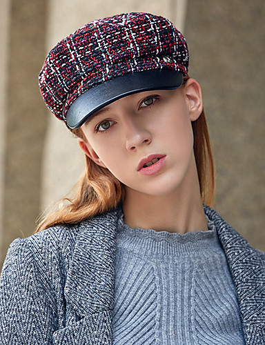 3e2851ea587cb Women s Vintage Party Tweed Beret Hat Bowler   Cloche Hat Newsboy Cap- Houndstooth Fall Winter Orange Navy Blue Wine