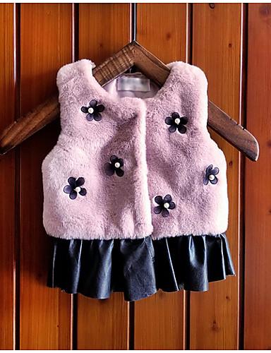 赤ちゃん 女の子 ベーシック 日常 ソリッド ノースリーブ レギュラー コットン ジャケット&コート ホワイト