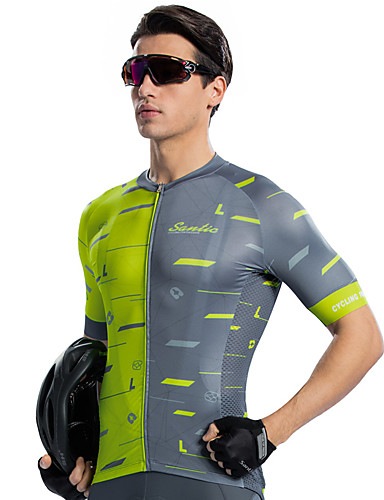 cheap Cycling Clothing-SANTIC Men's Short Sleeve Cycling Jersey - Gray+Green Bike Jersey Top Sports Elastane Terylene Mountain Bike MTB Road Bike Cycling Clothing Apparel / High Elasticity / Race Fit / Breathable Armpits