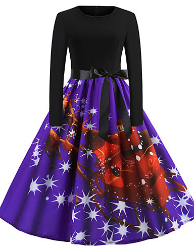 6f7db9774e3d Women s Holiday Going out Vintage Elegant Swing Dress - Animal Spring  Cotton Green Red Purple L