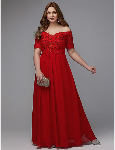 4889ba5d581dd Plus Size A-Line Off Shoulder Floor Length Chiffon Formal Evening Dress  with Beading / Lace Insert by TS Couture®