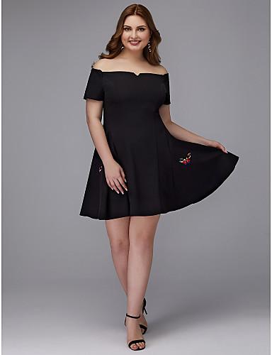 voordelige Grote maten jurken-A-lijn Schouderafhangend Kort / Mini Stretchsatijn Cocktailparty Jurk met Patroon / Print door TS Couture®