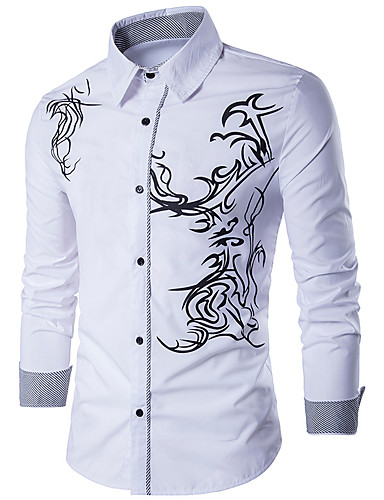 Majica Muškarci - Aktivan / Osnovni Dnevno / Vikend Pamuk Geometrijski oblici Slim Crn / Dugih rukava