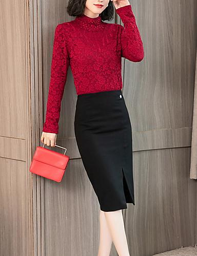abordables Hauts pour Femme-Le maillot de corps Grandes Tailles Femme, Couleur Pleine Basique Mao Blanche