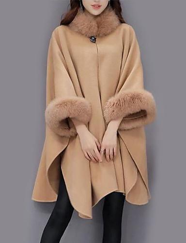 Per Donna Quotidiano Moda Città Autunno - Inverno Lungo Cloak - Capes, Tinta Unita Girocollo Manica Lunga Lana - Acrilico - Poliestere Cammello - Grigio Xl - Xxl - Xxxl #06390871 Paghi Uno Prendi Due