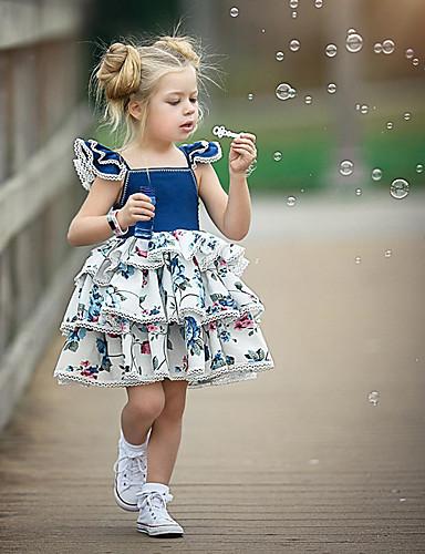 赤ちゃん 女の子 活発的 / ストリートファッション パーティー / 誕生日 ブルー & ホワイト フラワー レースアップ / プリント ノースリーブ レギュラー レギュラー 膝上 コットン / スパンデックス ドレス ブルー / 幼児
