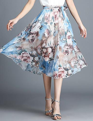 cheap Women's Skirts-Women's Going out / Beach Active Swing Skirts - Geometric / Color Block Tulle Winter Light gray Royal Blue Lavender XXXL XXL XXXXL / Loose