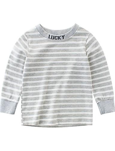 Barn Gutt Grunnleggende Daglig / Ut på byen BLå & Hvit Stripet Lapper Langermet Bomull / Spandex Bluse Blå