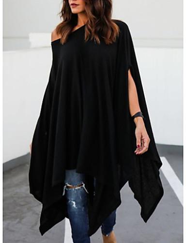 Majica s rukavima Žene - Ulični šik Dnevno Jednobojni Na jedno rame Širok kroj Crn