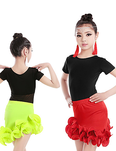 3bee8148f227 Latin Dance Outfits Girls' Training / Performance Elastane / Lycra Ruching  / Wave-like Short Sleeve Skirts / Top