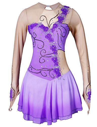 abordables Robe de Patinage-Robe de Patinage Artistique Femme Fille Patinage Robes Violet Fleur Teinture Halo Elasthanne Haute élasticité Compétition Tenue de Patinage Fait à la main Classique Manches Longues Patinage sur glace