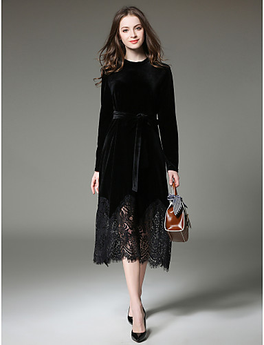 a2fa3ed7426f8 Women's Velvet Daily / Work Sophisticated Slim Lace Dress - Solid Colored  Lace Fall Black Wine M L XL
