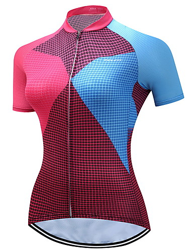 5cc34266a TELEYI Women s Short Sleeve Cycling Jersey - Blue+Pink Plaid   Checkered  Bike Jersey Breathable Quick Dry Sports Polyester Mountain Bike MTB Road  Bike ...