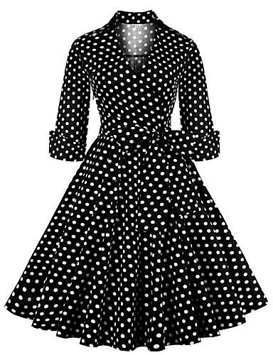 b886ae94cb0 Women s Vintage Elegant Sheath Swing Dress - Polka Dot Print Black Red L XL  XXL