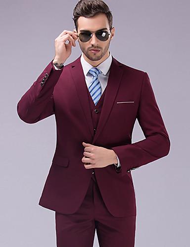 povoljno Svečana odijela-Jednobojni Kroj po mjeri Poliester Odijelo - Stepenasti Droit 1 bouton / odijela