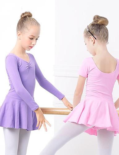billige Danseklær til barn-Ballet Kjoler Jente Trening / Ytelse Elastan / Lycra Ruchiing / Bølge-aktig Langermet Kjole