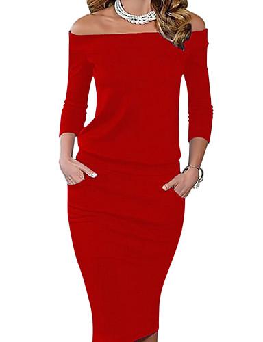 e437b3c4a3 Női Parti Alkalmi Bodycon Ruha Egyszínű Térdig érő Aszimmetrikus Piros /  Vékony