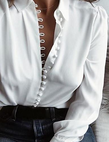 povoljno Majica-Majica Žene - Osnovni Dnevno Pamuk Jednobojni V izrez Slim, Dugme Crn