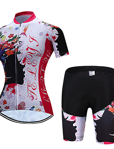 cheap Cycling Clothing-TELEYI Women's Short Sleeve Cycling Jersey with Shorts Red and White Floral Botanical Bike Clothing Suit Breathable Moisture Wicking Quick Dry Sports Polyester Floral Botanical Mountain Bike MTB Road