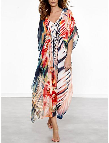 abordables Hauts pour Femmes-Femme Encolure plongeante Arc-en-ciel Robes Vêtement couvrant Maillots de Bain - Fleur Imprimé Imprimé Taille unique Arc-en-ciel / Sexy