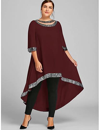 hesapli Maksi Elbiseler-Kadın's Büyük Bedenler Kılıf Elbise - Solid Maksi