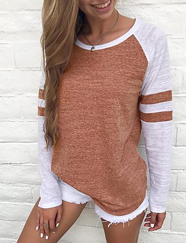 abordables Hauts pour Femmes-Tee-shirt Grandes Tailles Femme, Bloc de Couleur Bandes / Basique Basique Rouge / Printemps / Eté / Automne / Hiver