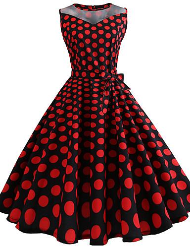 cheap Historical & Vintage Costumes-Audrey Hepburn Polka Dots Retro / Vintage 1950s Dress Women's Costume Fuschia Vintage Cosplay Sleeveless Knee Length