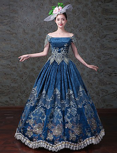 a7a38d8751fd Queen Princess Rococo Baroque Victorian 18th Century Costume Women's Dress  Masquerade Costume Blue Vintage Cosplay Party Prom Short Sleeve Lace  Sleeves ...