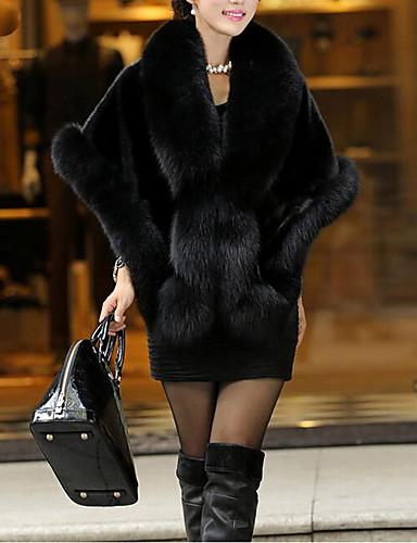 voordelige Damesjassen & trenchcoats-Dames Dagelijks Standaard Herfst winter Normaal Cloak / Capes, Effen V-hals Halve mouw Imitatiebont Zwart / Wijn / Wit