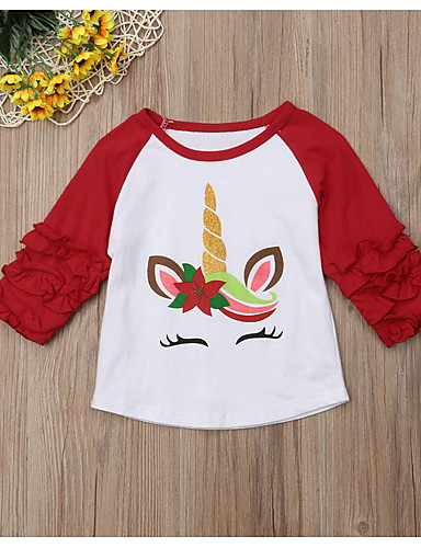 Baby Girls' Street chic Print / Color Block Long Sleeve Polyester Tee Red / Toddler