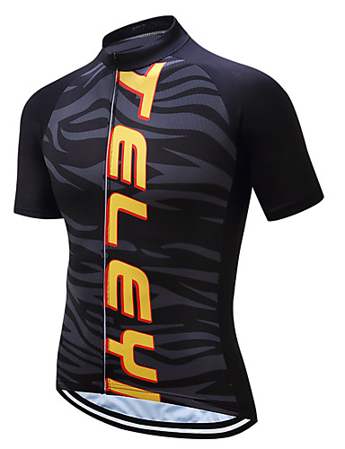 cheap Cycling Clothing-TELEYI Men's Short Sleeve Cycling Jersey - Black+Golden Zebra Bike Jersey Top Moisture Wicking Quick Dry Sports Coolmax® Terylene Mountain Bike MTB Road Bike Cycling Clothing Apparel / Stretchy