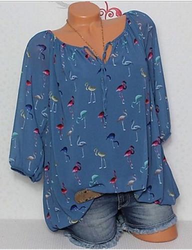 billige Dametopper-Tynn Løse skuldre Store størrelser Skjorte Dame - Geometrisk Grunnleggende Rosa