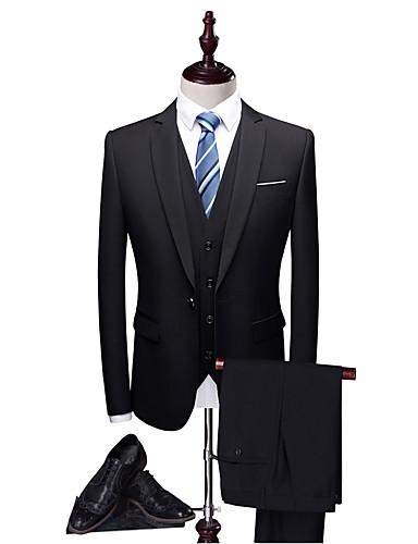 billiga Brudgum och marskalkar-Enfärgad Skräddarsydd passform Polyester Kostym - Trubbig Singelknäppt 1 Knapp