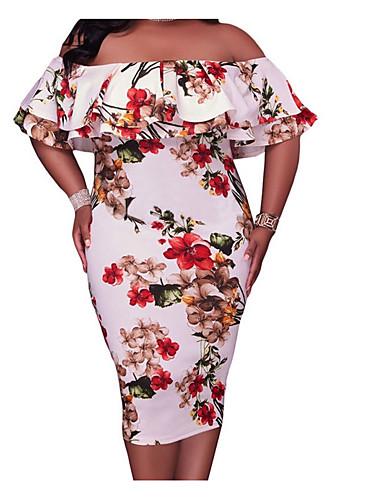 voordelige Grote maten jurken-Dames Standaard Slank Bodycon Jurk - Effen, Met ruches Strapless Midi Hoge taille / Hoge taille  / Sexy