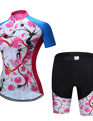 cheap Cycling Clothing-TELEYI Women's Short Sleeve Cycling Jersey with Shorts - Blue+Pink Floral Botanical Bike Clothing Suit Breathable Sports Polyester Floral Botanical Mountain Bike MTB Road Bike Cycling Clothing Apparel