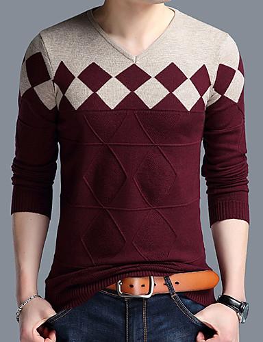 Bene Per Uomo Quotidiano Essenziale Monocolore Manica Lunga Standard Pullover, A V Arancione - Cammello - Vino Xxl - Xxxl - Xxxxl #07067693 Regalo Ideale Per Tutte Le Occasioni