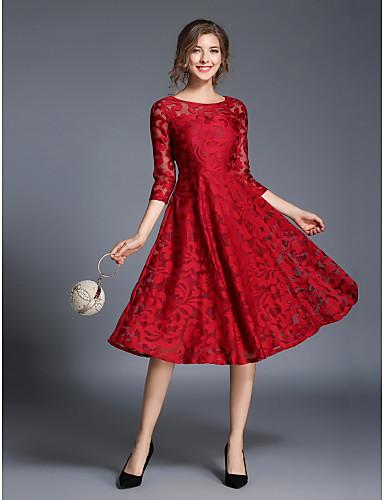 Women's Party / Daily Street chic Sheath / Skater Dress - Jacquard Fall Blue Red L XL XXL