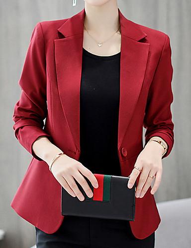 Žene Dnevno Posao Normalne dužine Sako, Jednobojni Kragna košulje Dugih rukava Poliester Lila-roza / Svjetloplav / Navy Plava / Slim