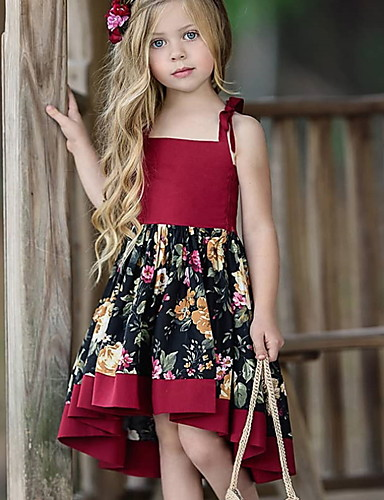 Kids Girls' Sweet Daily Floral Print Sleeveless Asymmetrical Dress Red