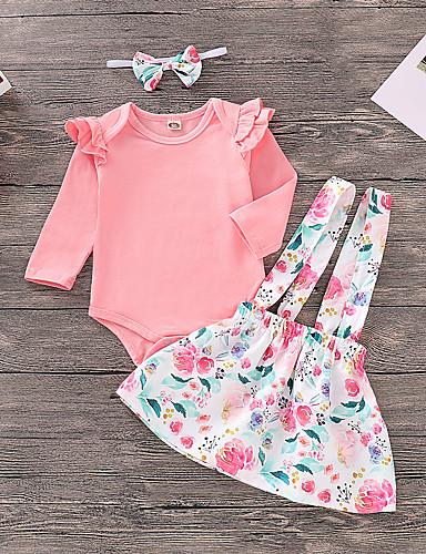 Bambino (1-4 anni) Da ragazza Attivo / Essenziale Jacquard Manica lunga Cotone / Elastene Completo Rosa