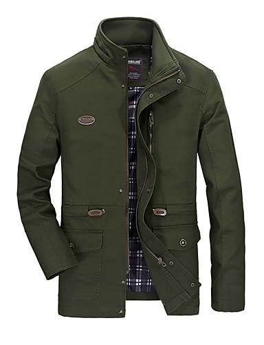 رخيصةأون ملابس خارجية-رجالي أصفر أخضر داكن كاكي XXXL XXXXL 5XL جاكيت قياس كبير لون سادة مرتفعة / كم طويل / الخريف / الشتاء