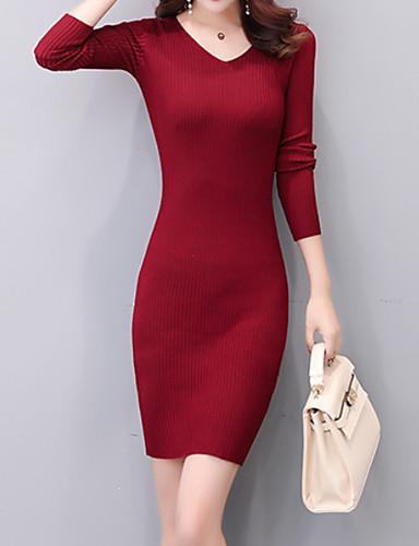 f1cf46efff08 Γυναικεία Βασικό Εφαρμοστό Πλεκτά Φόρεμα - Μονόχρωμο Πάνω από το Γόνατο  Ψηλή Μέση