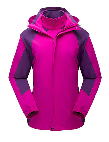 cheap Outdoor Clothing-Women's Hiking Jacket Outdoor Autumn / Fall Spring Windproof UV Resistant Rain Waterproof Breathability 3-in-1 Jacket Top Elastane Single Slider Outdoor Exercise Multisport Fuchsia / Army Green