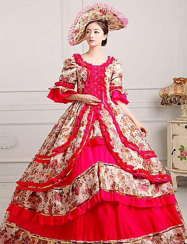 4a2d71f84cc Queen Princess Rococo Baroque Victorian 18th Century Ball Gown Costume  Women s Masquerade Costume Blue   Pink   Fuchsia Vintage Cosplay Party Prom  Half ...